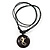 Unisex Black/ White Resin Medallion 'Gecko Lizard' Cotton Cord Pendant - Adjustable - view 2