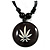 Unisex Black/ White Resin Medallion 'Hemp' Cotton Cord Pendant - Adjustable