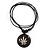 Unisex Black/ White Resin Medallion 'Hemp' Cotton Cord Pendant - Adjustable - view 2