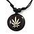 Unisex Black/ White Resin Medallion 'Hemp' Cotton Cord Pendant - Adjustable - view 3