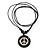 Unisex Black/ White Resin Medallion 'Peace' Cotton Cord Pendant - Adjustable - view 2
