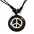 Unisex Black/ White Resin Medallion 'Peace' Cotton Cord Pendant - Adjustable