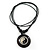 Unisex Black/ White Resin Medallion 'Yin Yang' Cotton Cord Pendant - Adjustable - view 2
