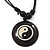 Unisex Black/ White Resin Medallion 'Yin Yang' Cotton Cord Pendant - Adjustable