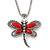 Vintage Hammered Butterfly Pendant On Mesh Chain (Red/ Burn Silver) - 44cm Length/ 6cm Extension