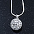 Clear Crystal Ball Pendant On Silver Tone Snake Style Chain - 40cm Length/ 4cm Extention