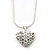 Clear Crystal 3D Heart Pendant On Silver Tone Snake Style Chain - 40cm Length/ 4cm Extention - view 2