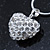 Clear Crystal 3D Heart Pendant On Silver Tone Snake Style Chain - 40cm Length/ 4cm Extention - view 3