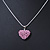 Baby Pink Crystal 3D Heart Pendant On Silver Tone Snake Style Chain - 40cm Length/ 4cm Extention - view 2