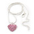 Baby Pink Crystal 3D Heart Pendant On Silver Tone Snake Style Chain - 40cm Length/ 4cm Extention - view 4