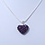 Deep Purple Crystal 3D Heart Pendant On Silver Tone Snake Style Chain - 40cm Length/ 4cm Extention - view 5
