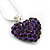 Deep Purple Crystal 3D Heart Pendant On Silver Tone Snake Style Chain - 40cm Length/ 4cm Extention - view 3