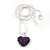 Deep Purple Crystal 3D Heart Pendant On Silver Tone Snake Style Chain - 40cm Length/ 4cm Extention - view 2