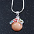 Small Romantic Magnolia 'Floral Garden' Pendant With Silver Tone Snake Style Chain - 40cm Length/ 6cm Extension