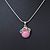 Small Romantic Baby Pink 'Floral Garden' Pendant With Silver Tone Snake Style Chain - 40cm Length/ 6cm Extension - view 2
