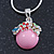 Small Romantic Baby Pink 'Floral Garden' Pendant With Silver Tone Snake Style Chain - 40cm Length/ 6cm Extension