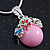 Small Romantic Baby Pink 'Floral Garden' Pendant With Silver Tone Snake Style Chain - 40cm Length/ 6cm Extension - view 3