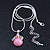 Small Romantic Baby Pink 'Floral Garden' Pendant With Silver Tone Snake Style Chain - 40cm Length/ 6cm Extension - view 5