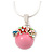 Small Romantic Baby Pink 'Floral Garden' Pendant With Silver Tone Snake Style Chain - 40cm Length/ 6cm Extension - view 4