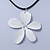 White Enamel 'Daisy' Pendant With Waxed Cotton Cord In Silver Tone - 38cm Length/ 7cm Extension - view 7