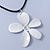 White Enamel 'Daisy' Pendant With Waxed Cotton Cord In Silver Tone - 38cm Length/ 7cm Extension - view 9
