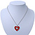 Red Enamel, Crystal 'Heart' Pendant With Silver Tone Chain - 40cm Length/ 7cm Extension - view 4