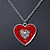 Red Enamel, Crystal 'Heart' Pendant With Silver Tone Chain - 40cm Length/ 7cm Extension - view 6
