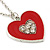 Red Enamel, Crystal 'Heart' Pendant With Silver Tone Chain - 40cm Length/ 7cm Extension - view 5