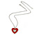 Red Enamel, Crystal 'Heart' Pendant With Silver Tone Chain - 40cm Length/ 7cm Extension - view 2
