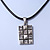 Burn Silver Crystal Square Pendant With Black Leather Style Cord - 38cm Length - view 4