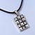 Burn Silver Crystal Square Pendant With Black Leather Style Cord - 38cm Length - view 6