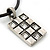 Burn Silver Crystal Square Pendant With Black Leather Style Cord - 38cm Length - view 2