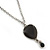 Vintage Inspired Small Black Enamel Heart Pendant With Long Silver Tone Chain - 68cm L/ 8cm Ext - view 5