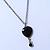 Vintage Inspired Small Black Enamel Heart Pendant With Long Silver Tone Chain - 68cm L/ 8cm Ext - view 6