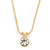 7mm Clear Round Crystal Pendant With Gold Tone Snake Chain - 36cm Length/ 5cm Extension