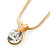 7mm Clear Round Crystal Pendant With Gold Tone Snake Chain - 36cm Length/ 5cm Extension - view 2