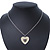 Milky White Enamel, Crystal 'Heart' Pendant With Silver Tone Chain - 40cm Length/ 7cm Extension - view 5