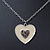 Milky White Enamel, Crystal 'Heart' Pendant With Silver Tone Chain - 40cm Length/ 7cm Extension - view 6