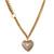 Romantic Etched Heart Locket Pendant With 44cm L/ 6cm Ext Gold Tone Double Chain - view 3