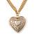 Romantic Etched Heart Locket Pendant With 44cm L/ 6cm Ext Gold Tone Double Chain