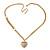 Romantic Etched Heart Locket Pendant With 44cm L/ 6cm Ext Gold Tone Double Chain - view 2