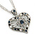 Open, Filigree Crystal Heart Pendant With Double Chain In Silver Tone - 38cm L/ 5cm Ext - view 2