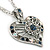 Open, Filigree Crystal Heart Pendant With Double Chain In Silver Tone - 38cm L/ 5cm Ext - view 3