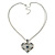 Open, Filigree Crystal Heart Pendant With Double Chain In Silver Tone - 38cm L/ 5cm Ext - view 4