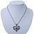 Open, Filigree Crystal Heart Pendant With Double Chain In Silver Tone - 38cm L/ 5cm Ext - view 6