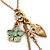 Vintage Inspired Flower, Leaf, Freshwater Pearl Charms Necklace In Antique Gold Metal - 38cm Length/ 8cm Extension - view 2