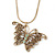 Vintage Inspired Filigree Butterfly Pendant With Gold Tone Snake Chain - 36cm Length/ 7cm Extension
