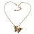 Vintage Inspired Filigree Butterfly Pendant With Gold Tone Snake Chain - 36cm Length/ 7cm Extension - view 3