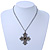Vintage Inspired Filigree Diamante 'Cross' Pendant With Silver Tone Oval Link Chain - 40cm Length/ 6cm Extender - view 4