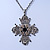 Vintage Inspired Filigree Diamante 'Cross' Pendant With Silver Tone Oval Link Chain - 40cm Length/ 6cm Extender - view 5